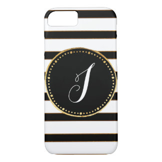 Monogrammed Black, White& Gold Striped iPhone Case