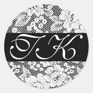 Monogrammed Black White Lace Sticker