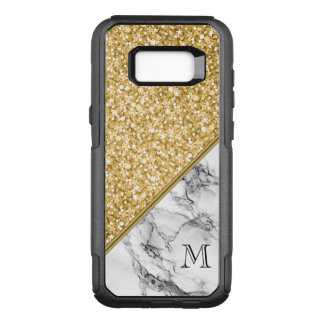 Monogrammed Black White Marble And Gold Glitter OtterBox Commuter Samsung Galaxy S8+ Case