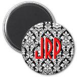 Monogrammed Black White Red Damask Refrigerator Magnets