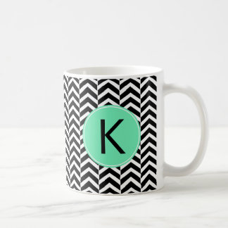 Monogrammed Black, White Sea Foam Chevron Pattern Basic White Mug