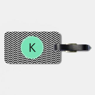Monogrammed Black, White Sea Foam Chevron Pattern Luggage Tag