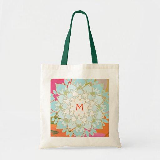Monogrammed Blooming Lotus Flower Canvas Bag