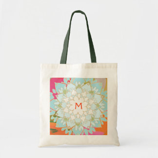 Monogrammed Blooming Lotus Flower Canvas Bag