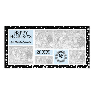 Monogrammed Blue and Black Snowflake Holiday Personalized Photo Card