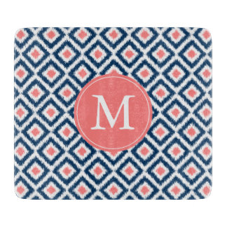 Monogrammed Blue and Coral Ikat Diamonds Pattern Cutting Board