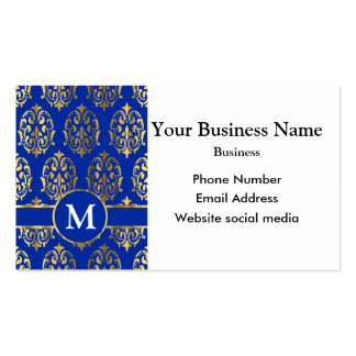 Monogrammed blue and gold damask pack of standard business cards