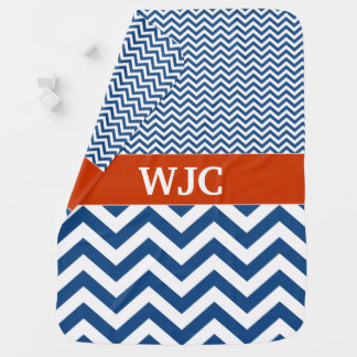 Monogrammed Blue and Red Chevron Baby Blanket