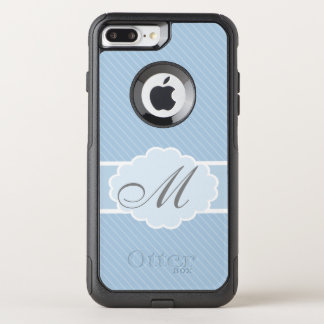 Monogrammed Blue and White Striped OtterBox Commuter iPhone 7 Plus Case