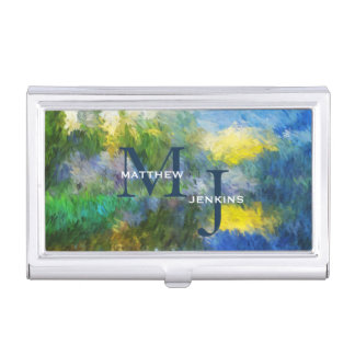 Monogrammed Blue and Yellow Impressionistic Business Card Holder