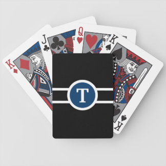 Monogrammed ~ Blue Black and White Bicycle Playing Cards