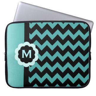 Monogrammed Blue Black Chevron Laptop Sleeve