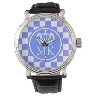 Monogrammed Blue Checkered Big Boss Watch