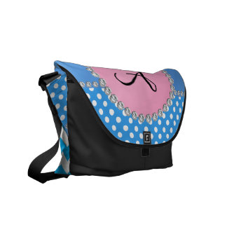 Monogrammed blue chevrons blue polka dots courier bag