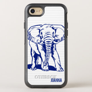 Monogrammed Blue Elephant OtterBox Symmetry iPhone 8/7 Case