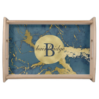 Monogrammed Blue/Gold Marble Tray