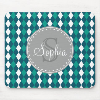 Monogrammed Blue Green Diamdons Pattern Mouse Pad