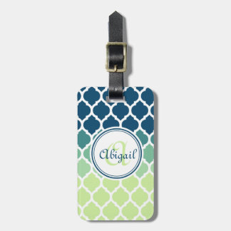 Monogrammed Blue Green Moroccan Lattice Pattern Luggage Tag