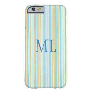 Monogrammed Blue & Green Striped Cell Phone Case