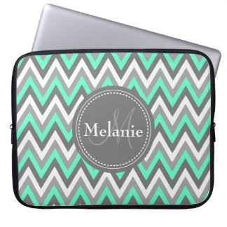 Monogrammed Blue & Grey Chevron Pattern Laptop Computer Sleeve