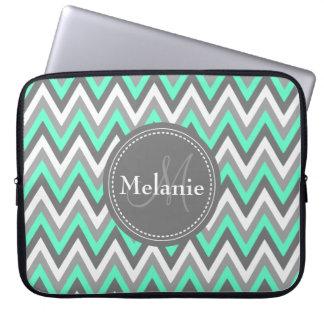 Monogrammed Blue & Grey Chevron Pattern Laptop Computer Sleeve