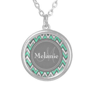 Monogrammed Blue & Grey Chevron Pattern Round Pendant Necklace