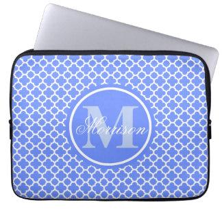 Monogrammed Blue Quatrefoil Laptop Sleeve