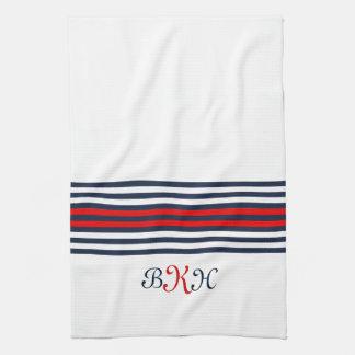 Monogrammed Blue & Red Stripes Design Tea Towel