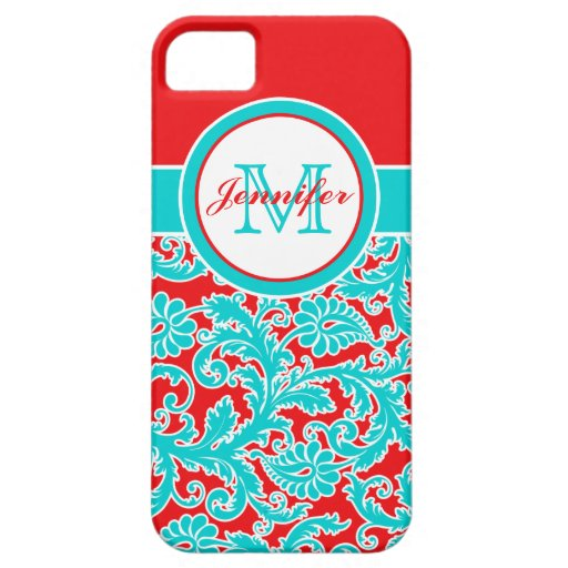 Monogrammed Blue, Red, White Damask iPhone 5 iPhone 5 Covers