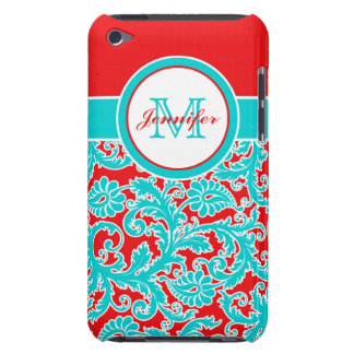 Monogrammed Blue Red White Damask iPod Touch Case