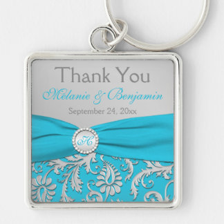 Monogrammed Blue, Silver Wedding Favor Key Chain