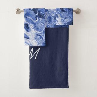 Monogrammed Blue Tree Abstract Bath Towel Set
