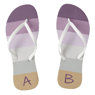 Monogrammed Blue Violet Purple Pink Gray Yellow Thongs