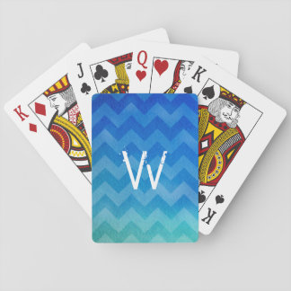 Monogrammed Blue Watercolor Ombre Zigzag Playing Cards