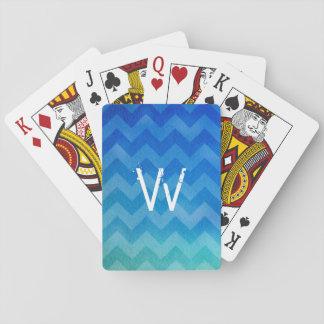 Monogrammed Blue Watercolor Ombre Zigzag Poker Deck