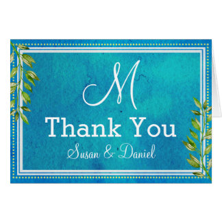 Monogrammed Blue Watercolor Wedding Thank You Card