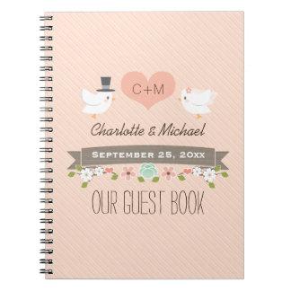 Monogrammed Blush Love Birds Wedding Guest Book Spiral Note Book