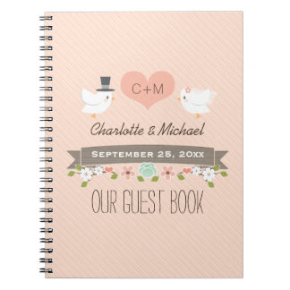 Monogrammed Blush Love Birds Wedding Guest Book Spiral Note Book