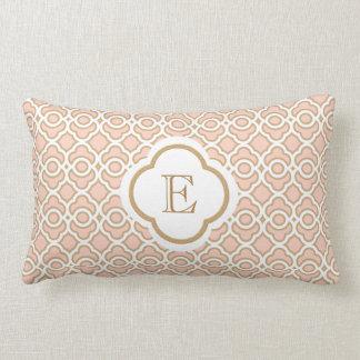 Monogrammed Blush Pink Gold Moroccan Lumbar Cushion