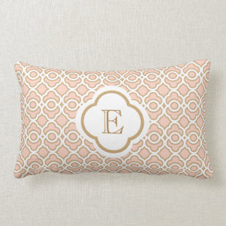 Monogrammed Blush Pink Gold Moroccan Throw Cushions