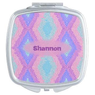 Monogrammed bohemian hippie chic diamond pattern travel mirror
