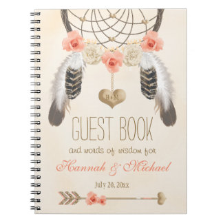 Monogrammed Boho Dreamcatcher Wedding Guest Book Note Book