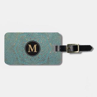 Monogrammed Boho Mandala   Teal Gold Bag Tag