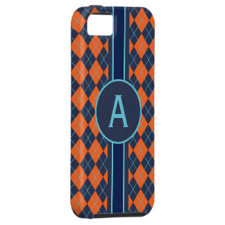 Monogrammed Bright Blue Argyle  iPhone 5 Case