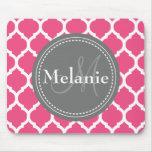 Monogrammed Bright Pink & Grey Quatrefoil