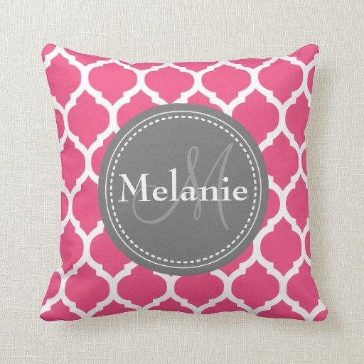 Monogrammed Bright Pink & Grey Quatrefoil Throw Pillow