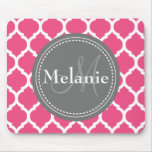 Monogrammed Bright Pink & Grey Quatrefoil Mouse Mat