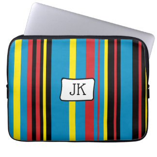 Monogrammed Bright striped computer sleeve