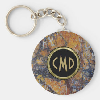 Monogrammed  Brown Faux Marble Stone Key Ring