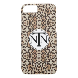 Monogrammed Brown Leopard Print iPhone 8/7 Case